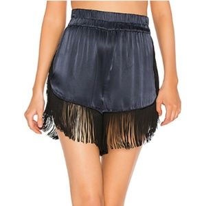 Gianni Donnelly Satin Shorts With Fringe Trim